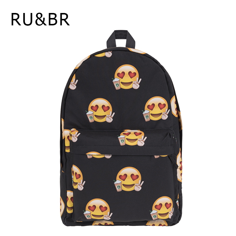RU&BR New Fashion Backpack Women Printting 3D Smiley Face Expression Large Capacity Oxford School Bagpack For Teenagers factory outlets opening film ru ru tea sets italics kit logo new custom large favorably
