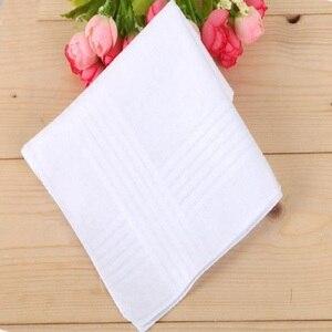 Image 3 - 12 teile/los 100% Baumwolle Solide Weiß Männer Taschentuch Export artikel 40cm * 40cm