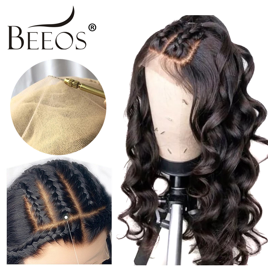 Fake Scalp Invisible 13x6 Deep Part Lace Front Human Hair Wigs Bleach Knot Loose Wave Remy Peruvian Wig Pre Plucked Hair Line