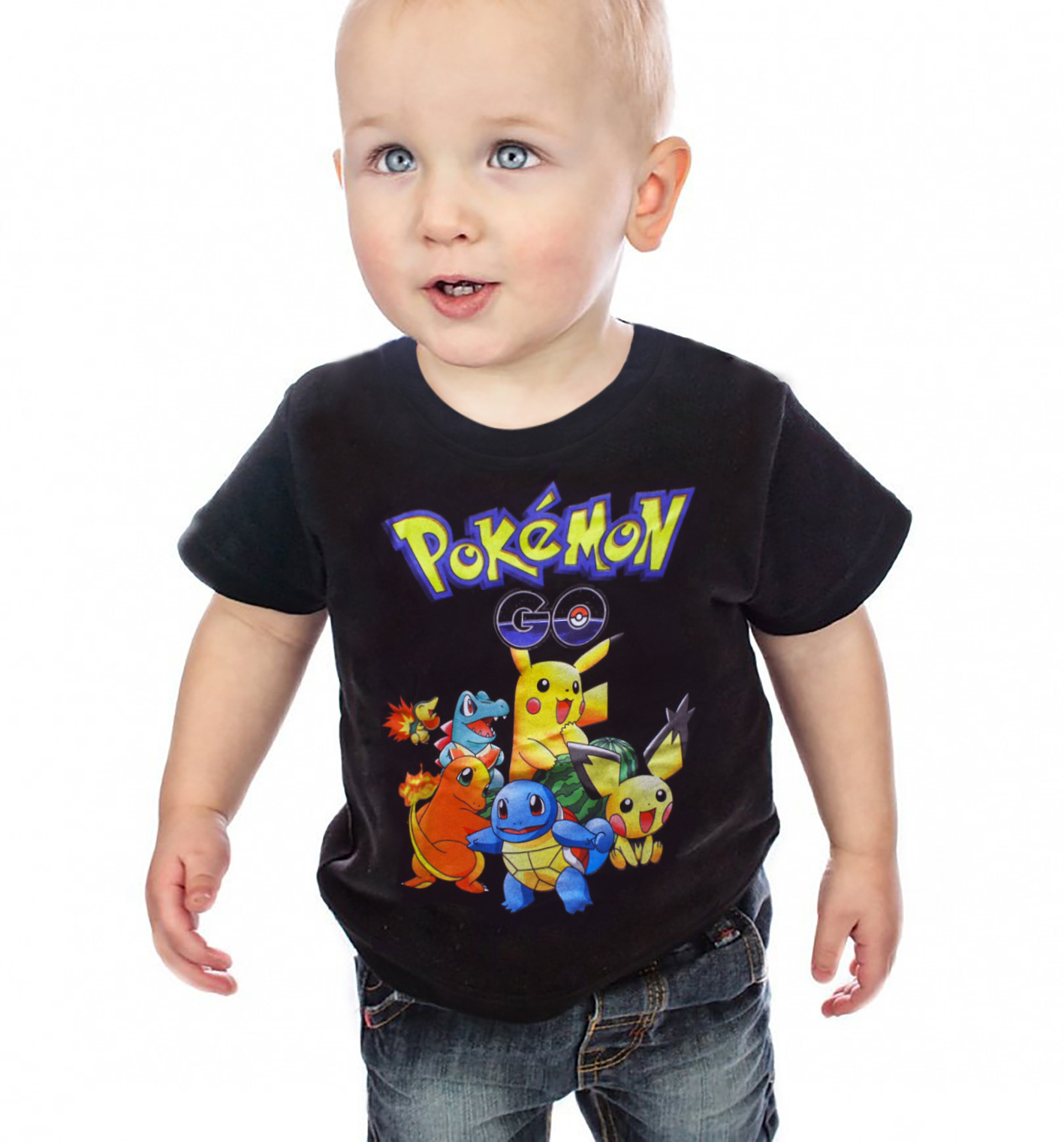 Girls Tops T-Shirts Pikachu 3-10years Pokemon-Go Boys Kids Children Shorts Cotton Summer