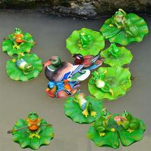Floating frog resin sculpture fish pond water fountain ornament rural style personality creative sculpture