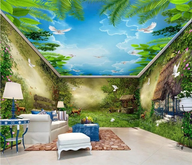 Beibehang Custom Wallpaper 3d Childrens Room Fantasy Fairytale Forest Hut Flower And Bird Whole House Background