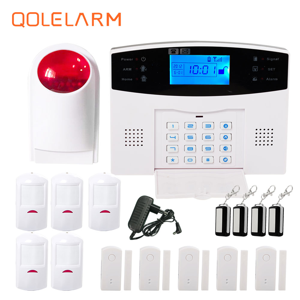 Spanish French Russian Italian Czech voice Wireless GSM Alarm system Home security alarm systems wireless outdoor strobe siren dual network russian spanish french wireless gsm pstn alarm system home security alarm systems with lcd keyboard without battery