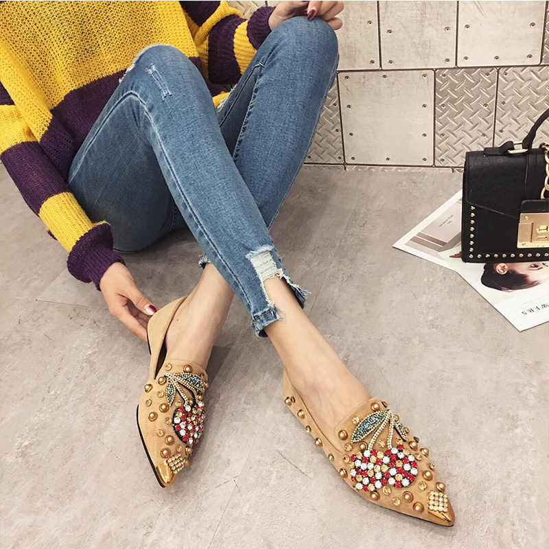 a3a92aca5079 ... SWYIYV Woman Flats Shoes Rhinestone Cherry 2019 Spring New Female Metal  Pointed Toe Casaul Shoes Comfortable ...