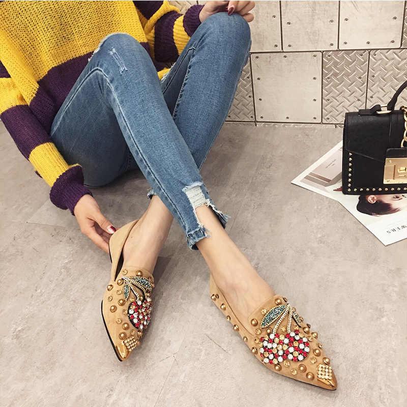 SWYIYV kadın Flats ayakkabı taklidi kiraz 2019 bahar yeni kadın Metal sivri burun rahat ayakkabılar rahat daireler loafer ayakkabılar