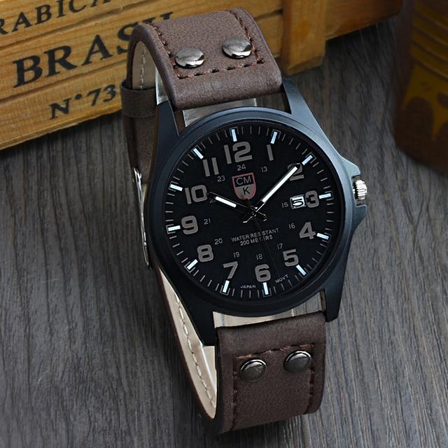 Brand men watch New mans clock Men's Date Leather Strap watches Sport Quartz Mil