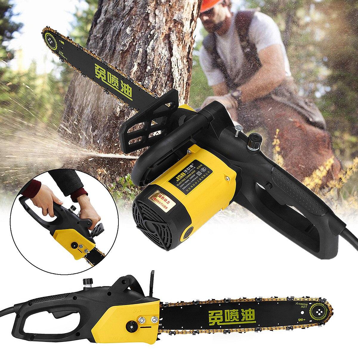 220V 2200W Portable Heavy Duty Electric Chainsaw 50Hz 600r/min Logging Garden Cutting Saw Tool Guide Plat 405mm Efficient Cut bt151 bt151 600r to 220