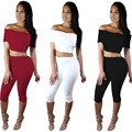 2017 Women Party Bodycon Dresses Winter 2 Piece Sets Short Sleeve Sexy Two Piece Bandage pants Cotton Two Piece Outfits