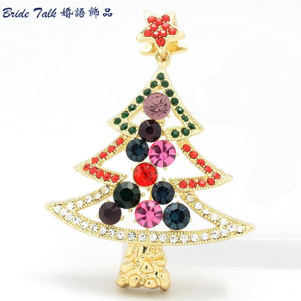 2014 New Fashion Rhinestone Christmas Tree Star Brooch Broach Pins ...