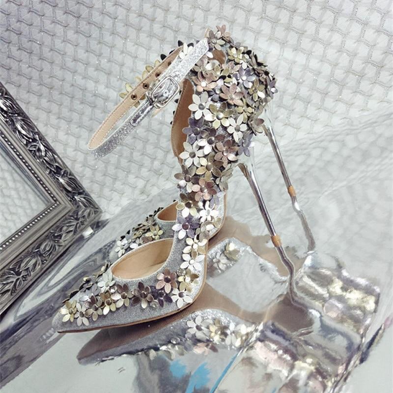 Zapatos brillantes para mujer, zapatos de novia, club de noche, calzado especial, zapatos con puntera para fiesta, zapatos con lentejuelas y decoración de flores - 5