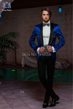 2016 Custom Made One Button Black Lapel Royal Blue Jacket Tuxedos For Men Slim Fit Suit Groomsmen Wedding Party Best Mens Suit