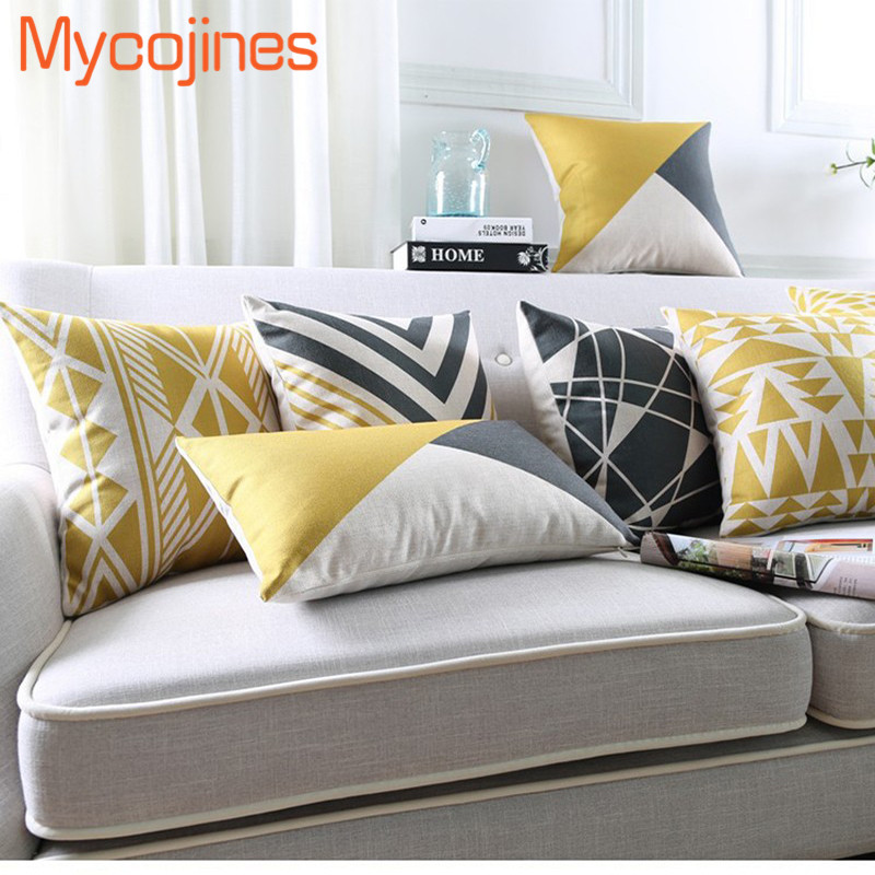 New Nordic Pillowcase Yellow Geometric Decorative Cushion Cover Grey Grid Sofa Throw Pillows Car Chair Home Decor Pillow Cover
