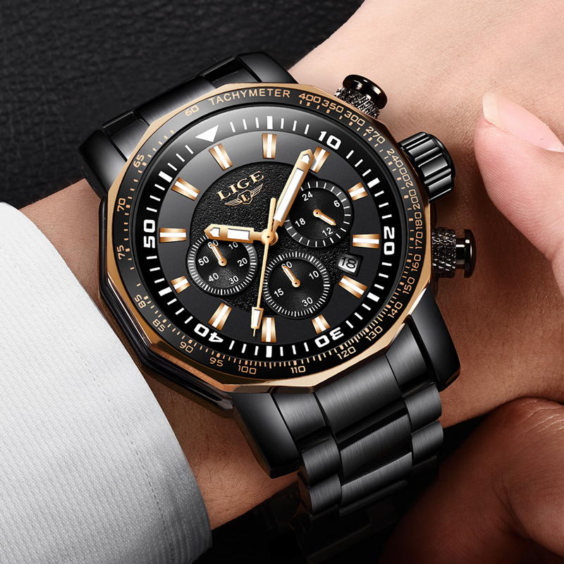 Relogio LIGE Luxury Sport Watch Men Waterproof Outdoor Big Dial Quartz Chronograph Sport Wrist Watch Male Clock erkek kol saati 2017 mens business watches top brand luxury chronograph watch sport quartz wrist watch men clock male relogio erkek kol saati