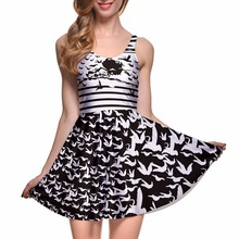 Fashion Women Casual Work Dresses Fit and Flare Digital Printing THE WICKED WITCH OF THE WEST REVERSIBLE SKATER DRESS Vestidos