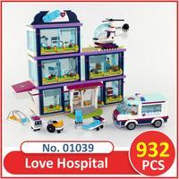 Lepin Building Block Model 01039 Compatible Legoes Friends Heart Lake Love Hospital 41318 Brick Educational Toys