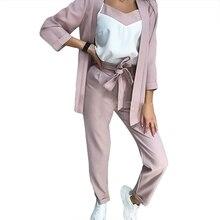 MVGIRLRU OL Style 3 Pieces Set Women Striped Pants Suit Long Blazer Jacket and S