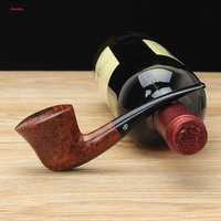 NewBee Handmade Briar Wood Smoking Pipe2 Colors HORN Style 3mm Metal Filters Acrylic Bent Mouthpiece Tobacco