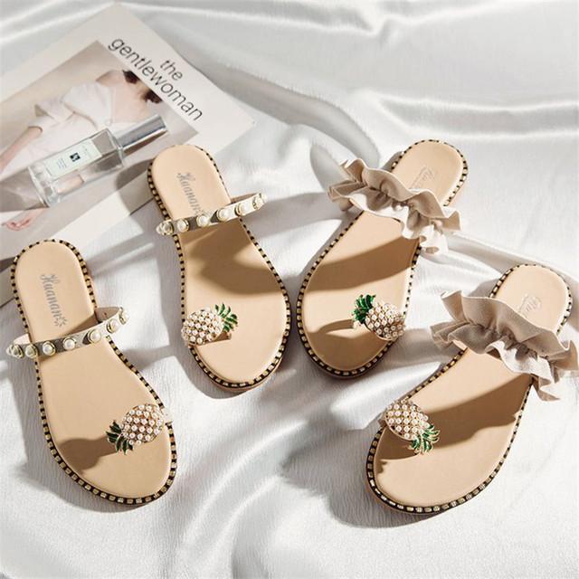 Women's Flat Pineapple Toe Ring Sandals
