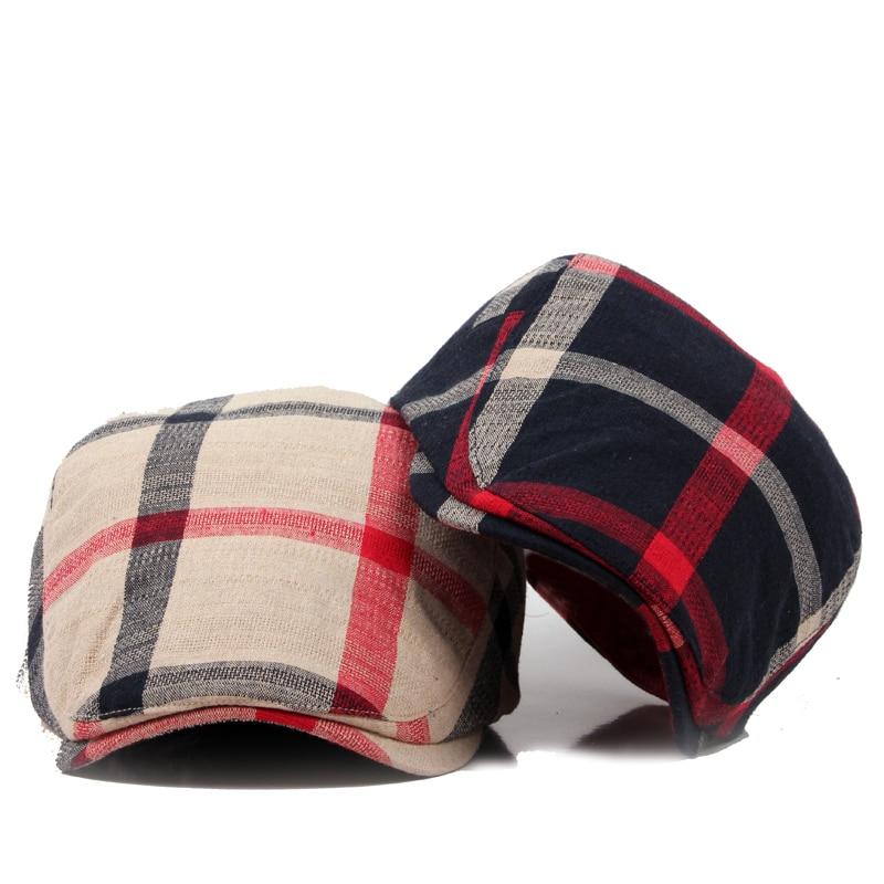 Classic Englad Style Plaid Berets Kepsar För Män Kvinnor Casual Unisex Sports Caps Bomull Berets Mössor Boina Casquette Flat Cap