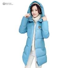Woman Winter Jacket Coat 2018 Fashion Cotton Padded Jacket Long Style Hood Slim Parkas Plus Size