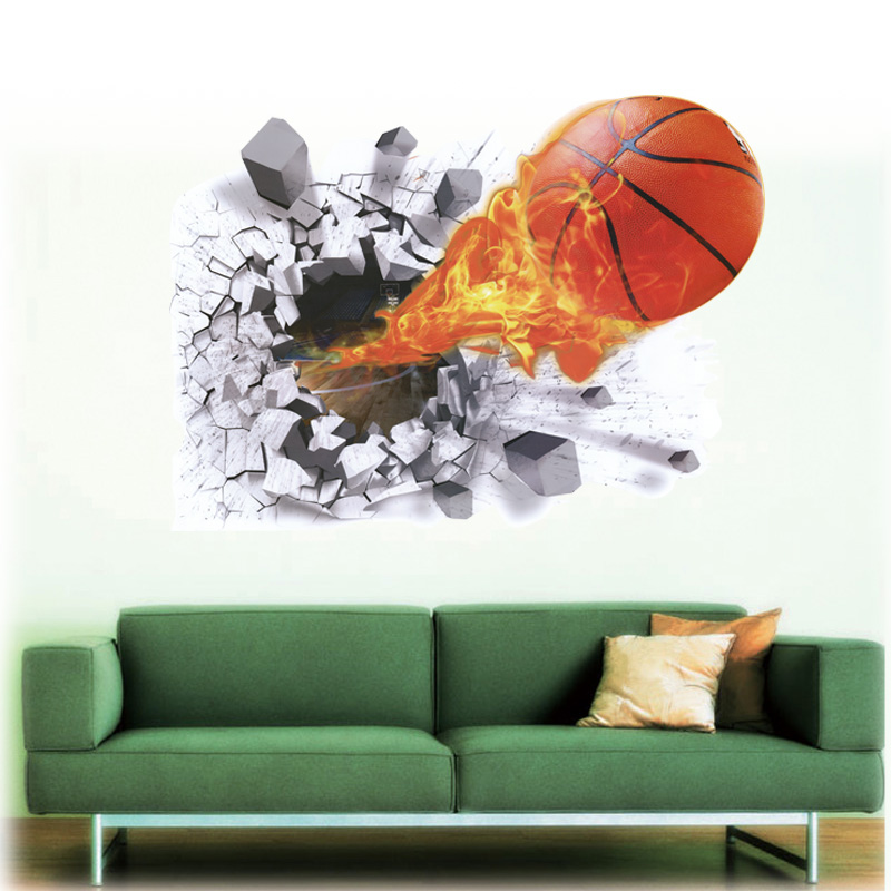 3D Effect Basketball Wall Stickers Removable Home Decor for Kid s Room  Bedroom Decoration DIY Wall Decal Vinyl Mural. Basketball Bedroom Furniture Reviews   Online Shopping Basketball