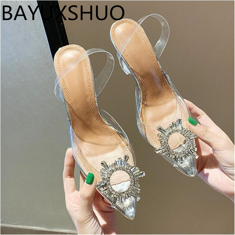 Sexy PVC High Heels Sandals Shoes Woman Silver Rhinestone Wedding Shoes 7.5cm High Heels Party Shoes Summer Height Heels Sandals 1