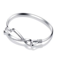 Pretty Bows Bracelets Fashionable Shining Frosted Chinese Knot 925 Silver Bracelet Woman Solid Silver Bracelet Jewelry