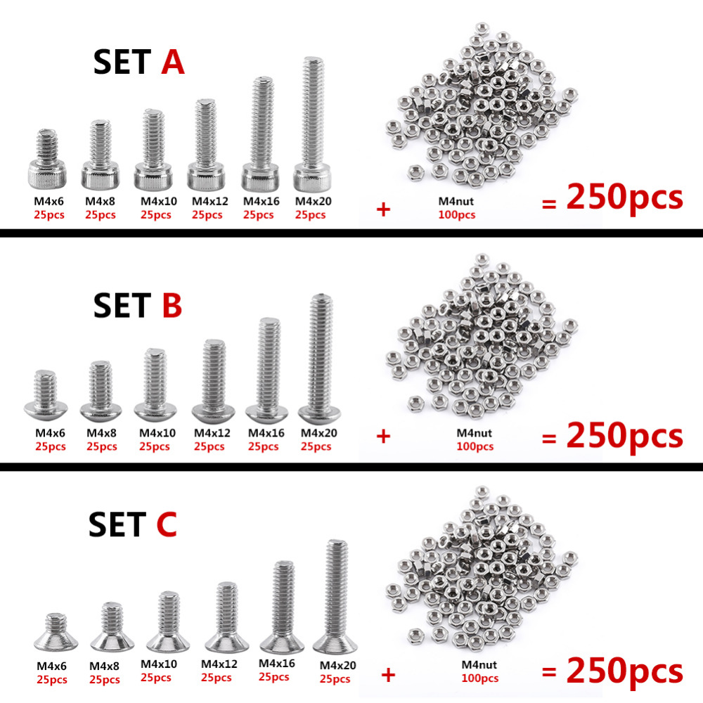 250pcs-m4-a2-stainless-steel-bolts-hex-socket-cap-button-flat-head-screws-with-nuts-assortment-kit