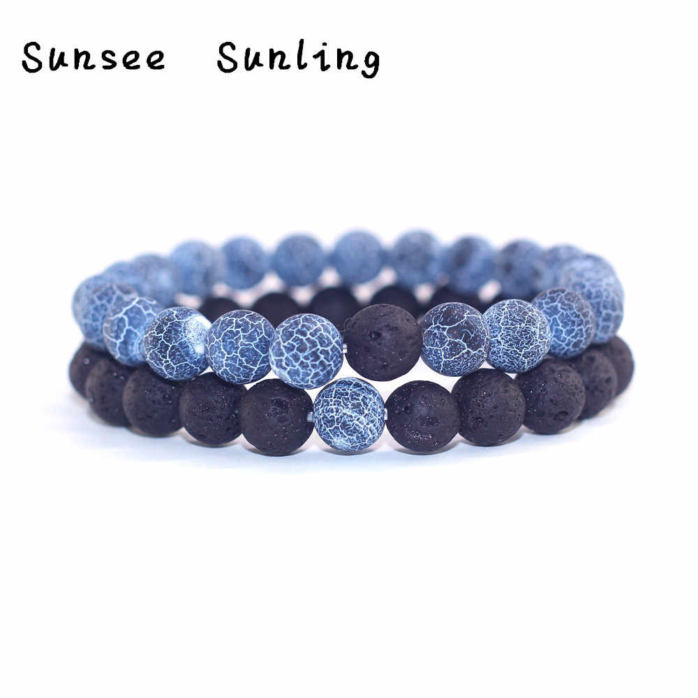 2019 Couple Bracelet Classic Distance Bracelet Bangle for Men Black Lava Beaded Bracelets Matching Yin Yang Personality Gift