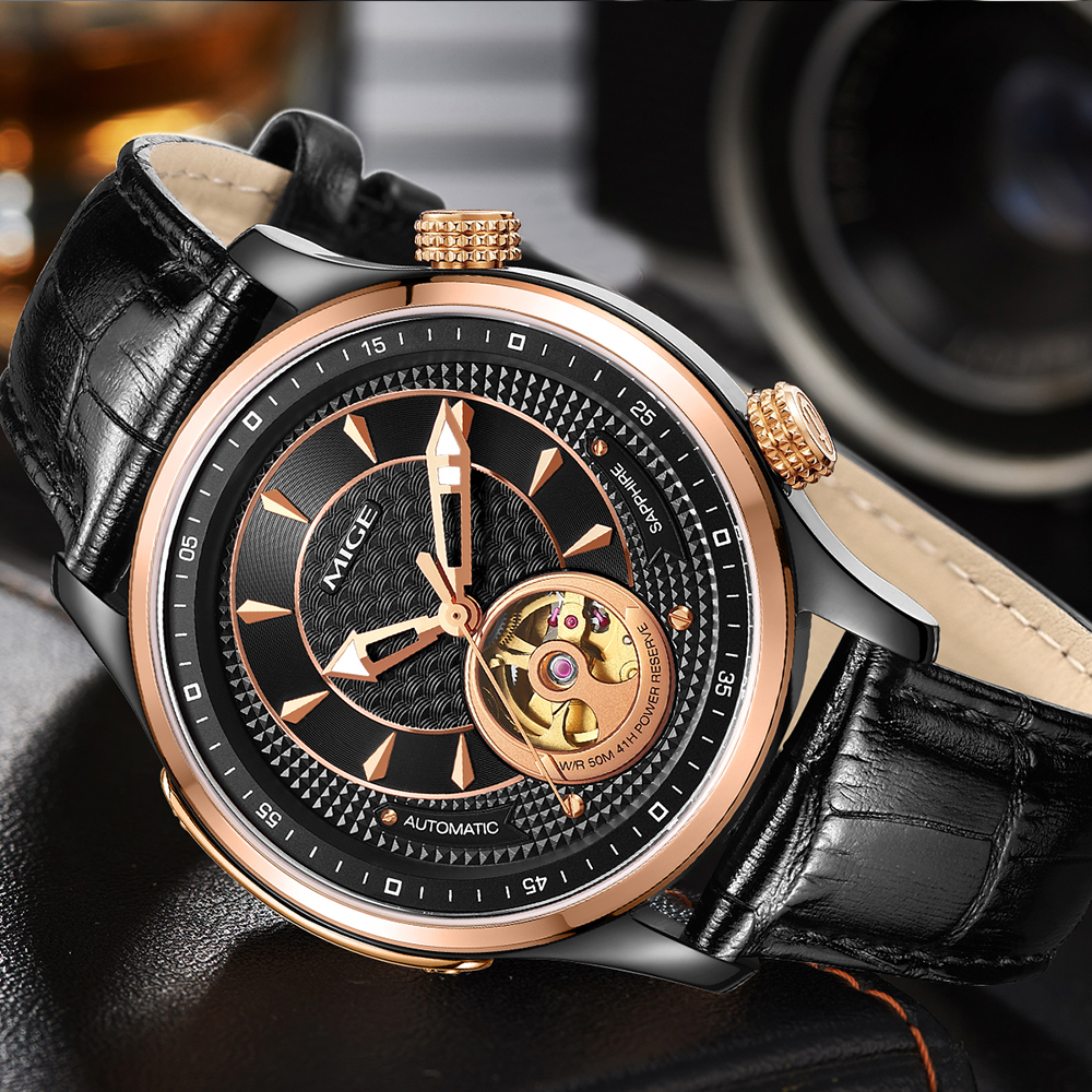 Mige 2017 Top Sale Real Brand Mige Skeleton Mechanical font b Watch b font Black Leather