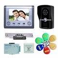 "Free Shipping  7"" TFT wired  Video Door Phone Doorbell Intercom IR Camera Monitor Electric Strike Lock RFID Keyfobs"