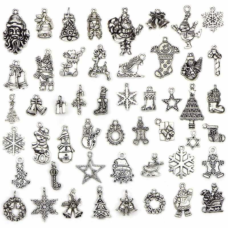 עתיק כסף תליוני לערבב עץ חג המולד סנטה פתית שלג ליל כל הקדושים Ghost קסם DIY שרשרת צמיד תכשיטי רטרו אופנה