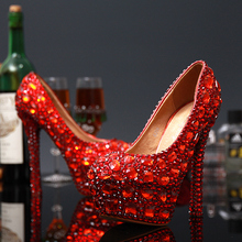 2016 High Heel Red Rhinestones Formal Shoes Elegant Wedding Shoes Formal Crystal Occasion Fashionable Bridal Shoes Free Shipping