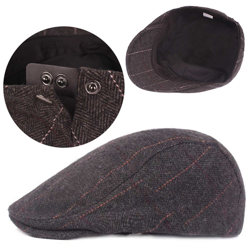 df9e6c5c0df2a Autumn Winter Men Cap Hats Berets British Western Style Wool Advanced Flat  Ivy Cap Classic Vintage Striped Beret Cap-in Berets from Apparel  Accessories on ...