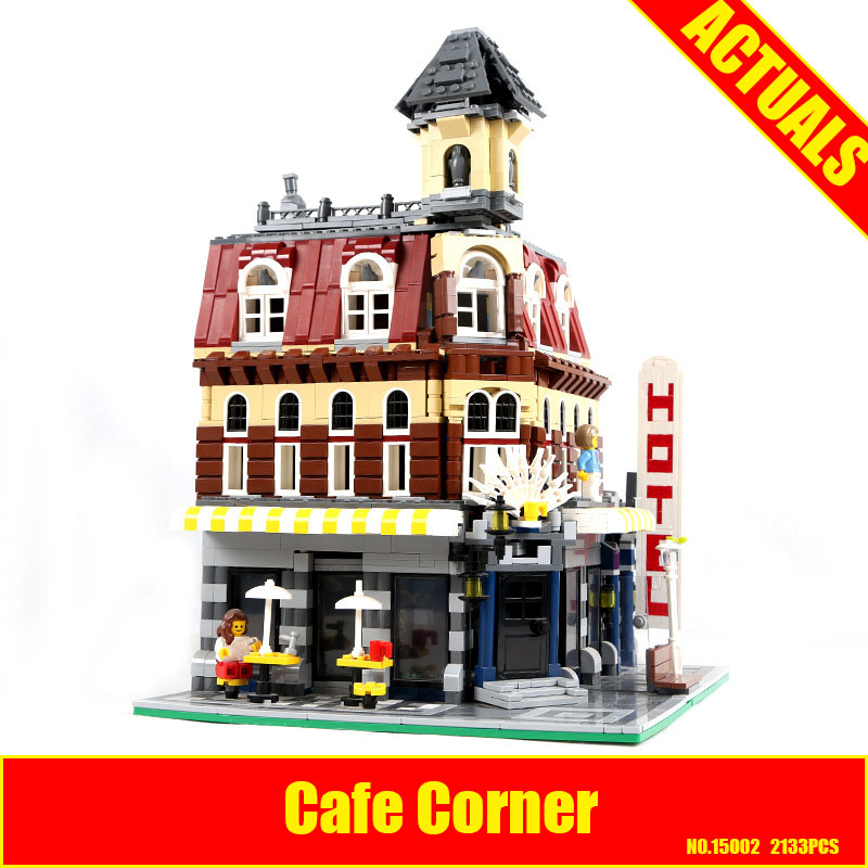 2017 New 2133Pcs LEPIN 15002 Cafe Corner Model Building Kits Blocks Kid DIY Educational Toy Children day Gift brinquedos 10182 new arrived abs three corner children toy edc hand spinner for autism and adhd anxiety stress relief child adult gift