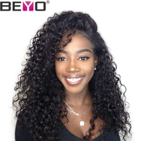 Beyo Hair Malaysian Deep Wave Wig Pre Plucked Glueless Full Lace Human Hair Wigs For Black Women Non Remy Hair Extension