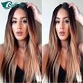 Luffy Peluca venta Caliente 1B #27 ombre pelucas llenas del cordón humanos ombre peluca del frente del cordón nudos blanqueados pelo densidad del 130 con el bebé pelo