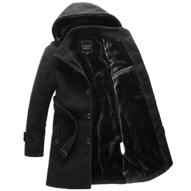 2016 inverno New masculino casual Com Capuz Homens Magro moda cor Sólida longo Engrossar parkas casacos casacos com cinto Frete Grátis