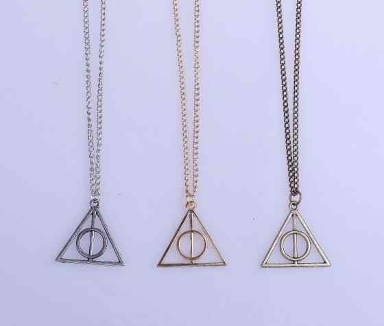 2016 Hot Sale Movie Deathly Hallows Antique Bronze Triangle Pendant long Chain Necklace Gift For Men and Women