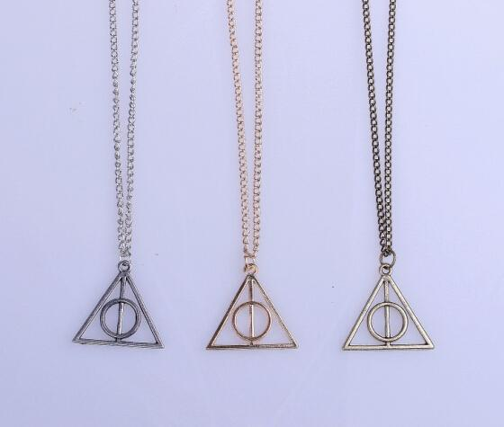 2016 Hot Sale Movie Harry Potter Deathly Hallows Antique Bronze Triangle Pendant long Chain Necklace Gift For Men and Women
