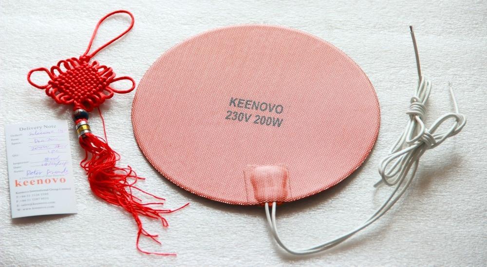 Dia200mm, 200W@230V Keenovo Universal Silicone Heater,3D Printer Heater,Heated Heat bed, Engine Oil Pan Heater