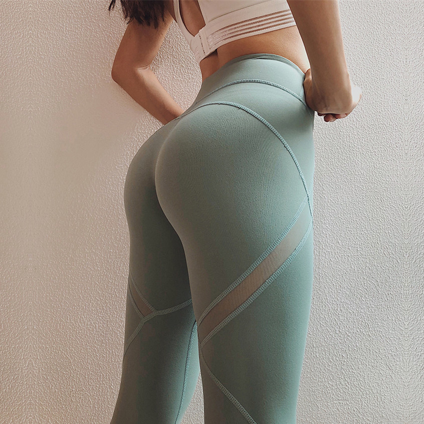 Women's Mesh Yoga Pants For Gym High Stretchy Fitness Activewear Push Up Squant Running Trousers Scrunch Butt Sports Leggings burgundy mesh detailed gym leggings