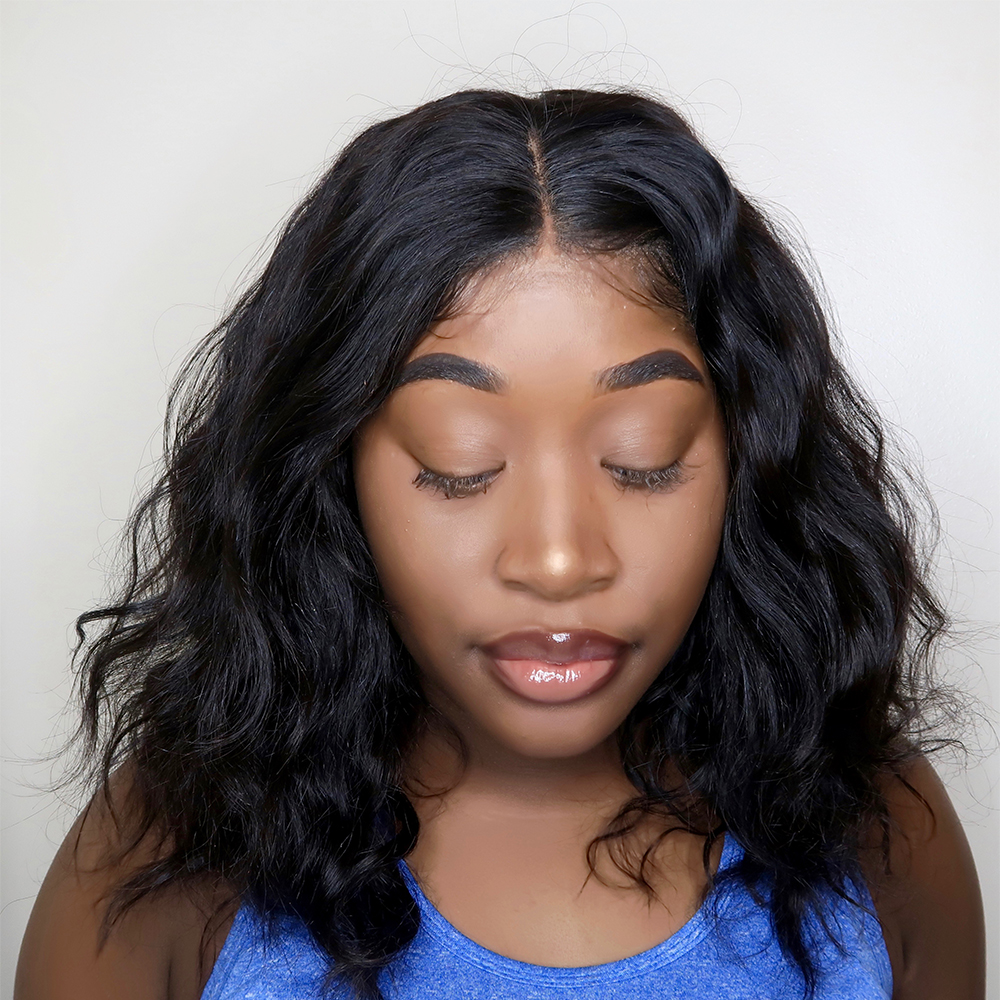 Moxika 150% Pre Plucked Lace Front human hair wig with Baby Hair Remy Brazilian natural wave short Bob Wigs For Black Women