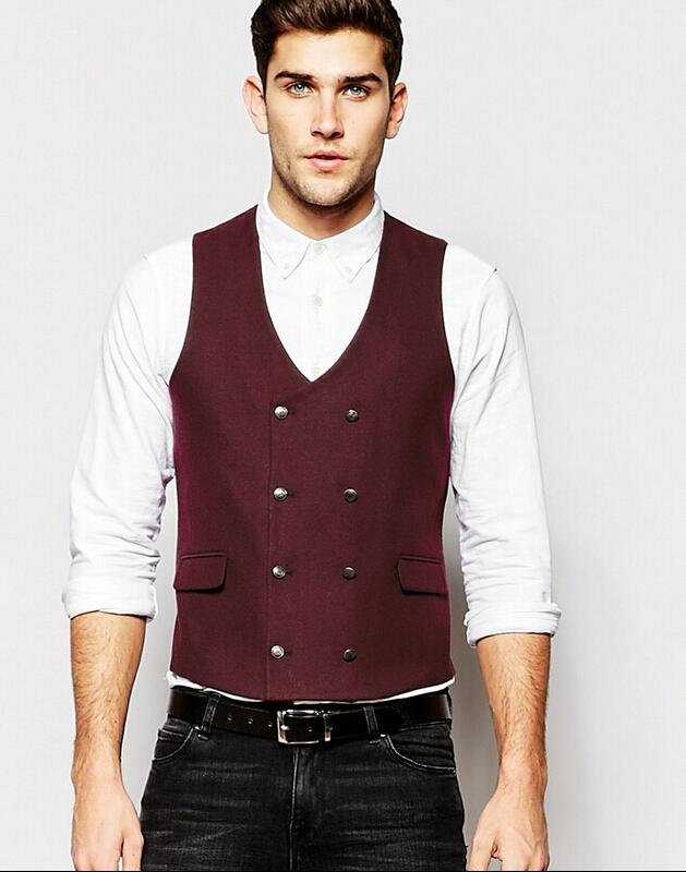 19 Hot Sale Custom Made Modern Fit Suit Separate Vest Slim Waistcoat In Burgundy Business Vests For Man