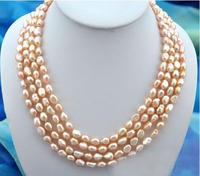 Women Gift Freshwater Wedding Woman Jewelry 4 Rows 10mm Pink Real Pearl Choker Necklace Natural Freshwater Pearl Handmade