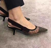 Lüks Taklidi Topuk Marka Sivri toes Tasarımcı Arkası Açık Iskarpin Pompalar Kadınlar Dantel Sandalet Yüksek Topuklu Ayakkabılar Bayan Zarif siyah