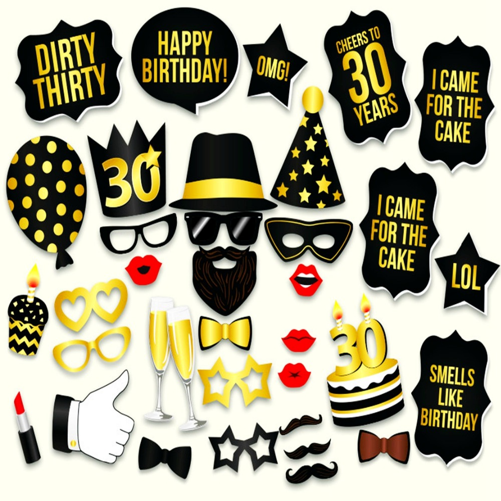 Photo Booth 30th Birthday Props Unisex Thirty Dirty Party HAPPY BIRTHDAY PHOTO BOOTH PROPS In Photobooth From