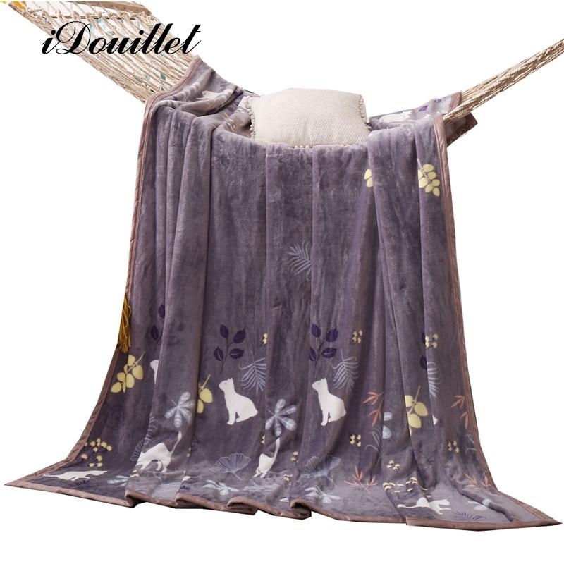 iDouillet Kitty & Leaves Cute Cat Plush Fleece Blanket for Bed/Couch/<font><b>Sofa</b></font> Girl