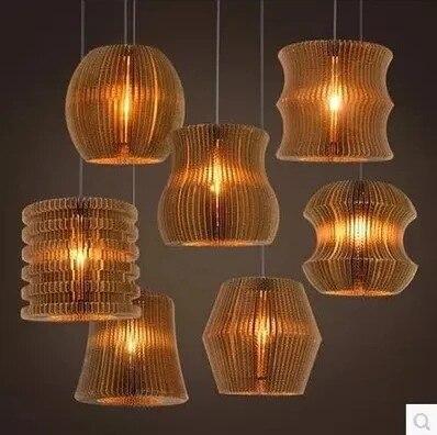 Vintage papier Rural nid d'abeille lampe soutien gorge pendentif lumières abat jour papier lanternes pour la maison et la barre design créatif lampe décoration - 3