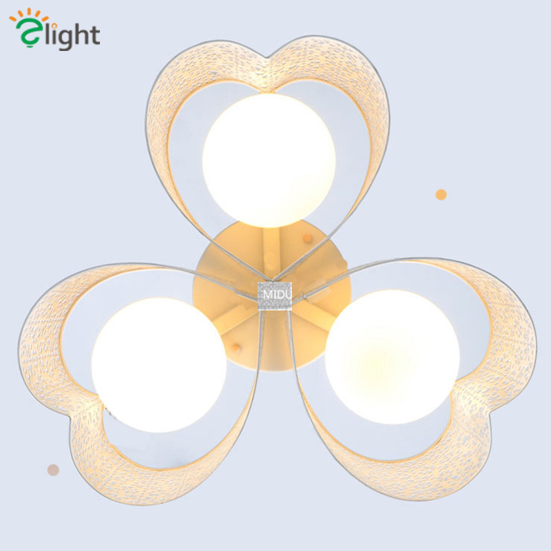 2016 Modern Brief Hollow Flower Metal Shades Chandelier Led 3 Heads Frosted Glass Shades Ceiling Chandelier For Bedroom